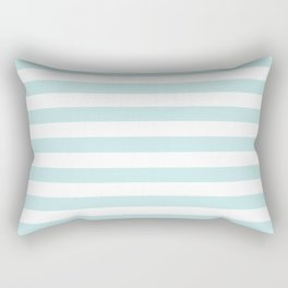 Duck Egg Pale Aqua Blue and White Wide Horizontal Beach Hut Stripe Rectangular Pillow