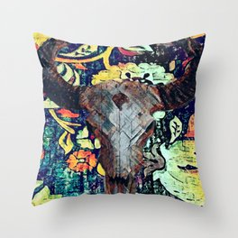 Cow Skull Floral Throw Pillow