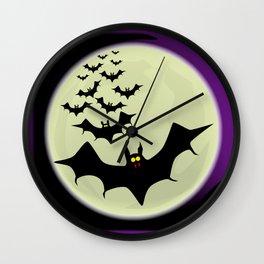 Bats and Moon Wall Clock