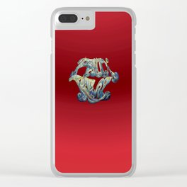 Faux Real - Bright Red - This is Not Typography Clear iPhone Case