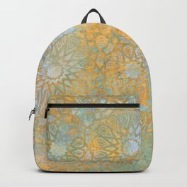 gold arabesque vintage geometric pattern Backpack