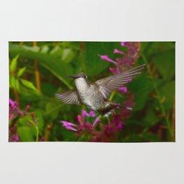 Hummingbird and pink agastache flower 44 Rug