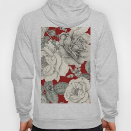 SEPIA FLOWERS ON RED Hoody