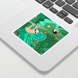 Sloths in the Emerald Jungle Pattern Sticker