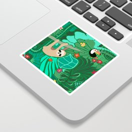 Sloths in the Emerald Jungle Pattern Sticker