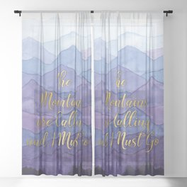 Blue Watercolor Mountains Calling Sheer Curtain