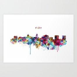 Madison Skyline Silhouette Art Print
