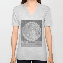 Vintage Map of The Moon (1645) Unisex V-Neck