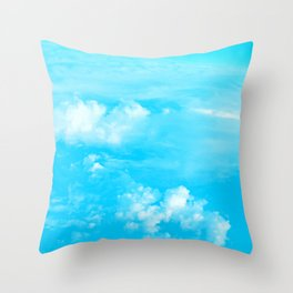 Aerial Turquoise Clouds Throw Pillow