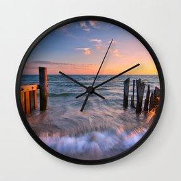 Rushing Waves at Sunset Wall Clock