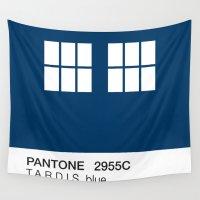 pantone Wall Tapestries featuring TARDIS Blue Pantone by Blu Cloud Industries