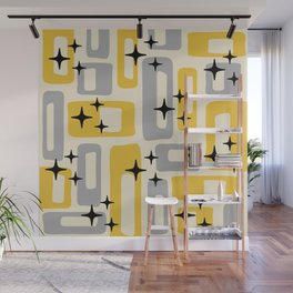 Retro Mid Century Modern Abstract Pattern 226 Yellow and Gray Wall Mural