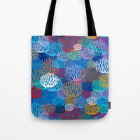coral Tote Bags featuring Coral by Helene Michau