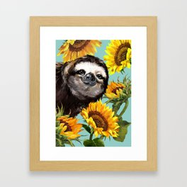 Sloth with Sunflowers Framed Art Print