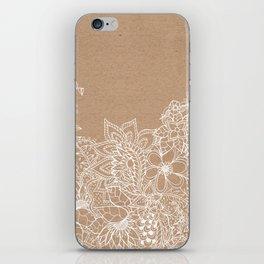 Modern white hand drawn floral illustration on rustic beige faux kraft color block iPhone Skin