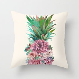 Floral Pineapple Throw Pillow