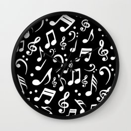 Music notes Pattern Black and White Wall Clock
