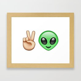Emoji Peace Alien Framed Art Print