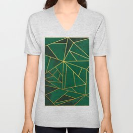 Emerald Green Geometric Gold Lines Unisex V-Neck