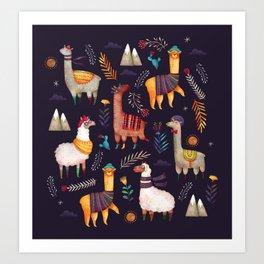Llamas Art Print