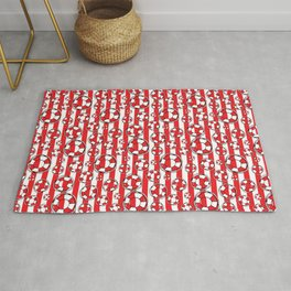 Nautical Beach Lifebelts on Red and White Stripes Rug