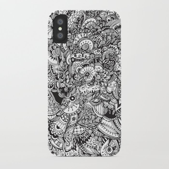 Detailed rectangle, black and white iPhone Case