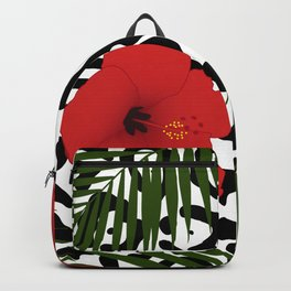 Red hibiscus and palm leaves seamless pattern Backpack