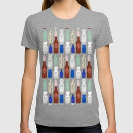 Vintage Bottle Collection Illustrated Repeat Pattern Print T-shirt
