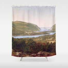 View From Garrison West Point New York 1870 By David Johnson   Reproduction   Romanticism Landscape Shower Curtain