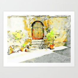 Door of the church Tortora Art Print