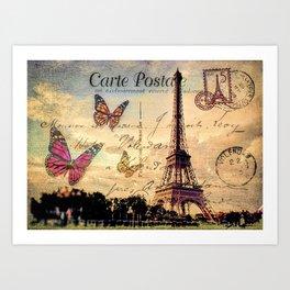 Vintage Paris-Carte Postale Art Print