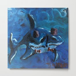 Two Headed Shark with Fez by Mary Bottom Metal Print