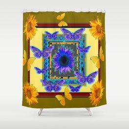KHAKI PURPLE & YELLOW BUTTERFLIES SUNFLOWER Shower Curtain