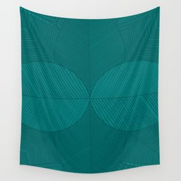 Minimal Tropical Leaves Green Teal Wall Tapestry
