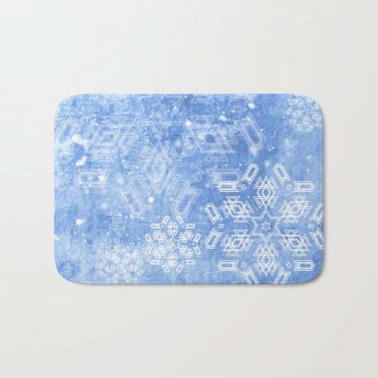 Abstract snow flakes on blue texture Bath Mat