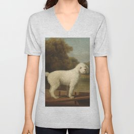 George Stubbs - White Poodle in a Punt Unisex V-Neck