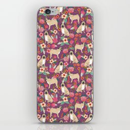 Pug dog breed floral must have cute pugs pure breed pet gifts iPhone Skin