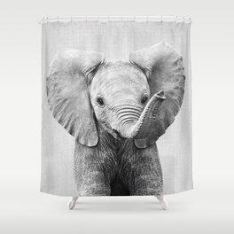 Baby Elephant - Black & White Shower Curtain