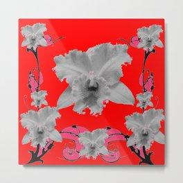MODERN ART RED ART NOUVEAU WHITE ORCHIDS ART Metal Print