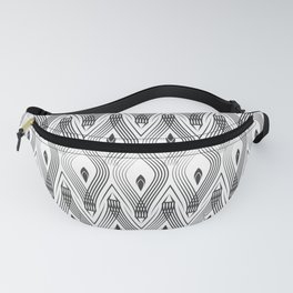 Art Deco 56 . black and gray spiral . Fanny Pack