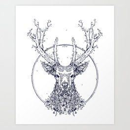 Flowers and Stag [Monochrome] Art Print