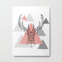 DEER HEAD - minimal abstract Metal Print