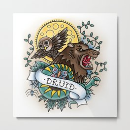 Druid - Vintage D&D Tattoo Metal Print