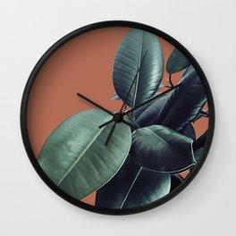 Ficus Elastica #17 #AutumnLeaf #foliage #decor #art #society6 Wall Clock