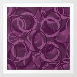 Seamless pattern with circles on purple background Art Print