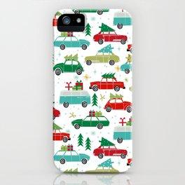 Christmas holiday vintage cars classic festive christmas tree snowflakes winter season iPhone Case
