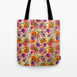 Modern hand painted pink orange purple watercolor floral Tote Bag