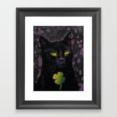 Lucky Black Cat Framed Art Print