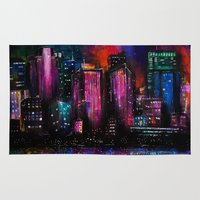 cityscape Area & Throw Rugs featuring Cityscape by Brittany Burkard