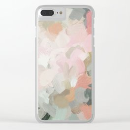 Forest Green Fuchsia Blush Pink Abstract Flower Spring Painting Art Clear iPhone Case